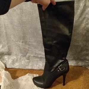 Black BCBG High Heeled Knee High Boots